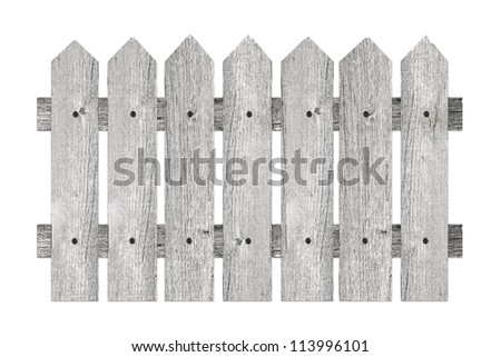 garden fence with planks isolated on white background - stock photo