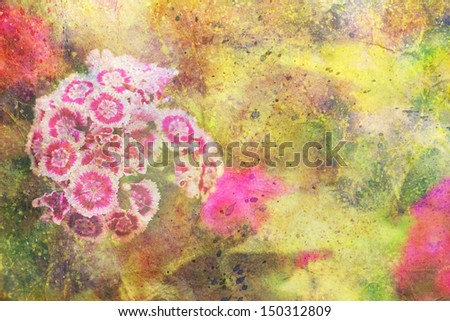 garden flowers and abstract colorful watercolor splatter - stock photo