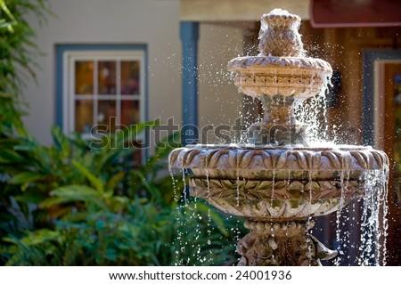 Garden fountain in St. Augustine, Florida - stock photo
