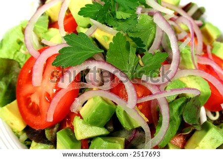 Garden fresh tossed salad ready to eat. - stock photo