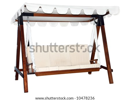 Garden furniture with tent isolated on white - stock photo