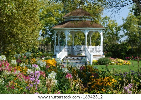 Garden Gazebo on Mackinac Island - stock photo
