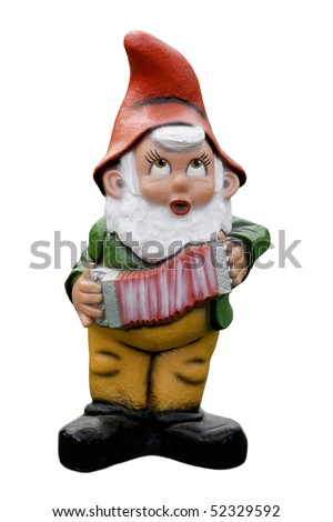 garden gnome with accordion isolated on white background - stock photo