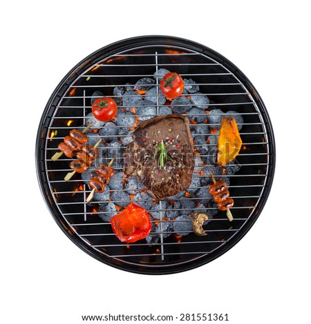 Garden grill with meat and vegetable, isolated on white background