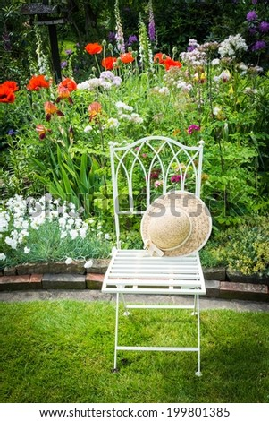 Garden idyll with chair