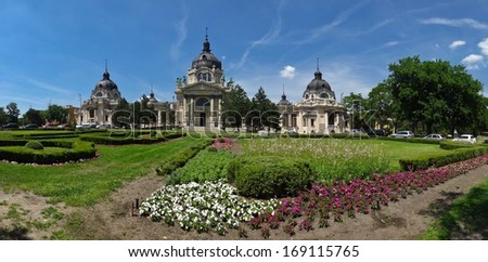 Garden in front of Szechenyi Bath in Budapest - stock photo