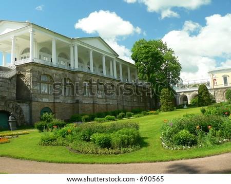 Garden in Katherin's palace, Tsarskoe selo, Russia - stock photo