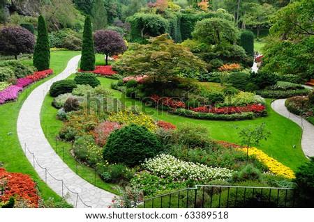garden in spring, victoria, british columbia, canada - stock photo