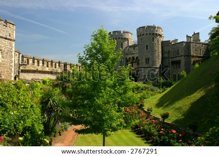 garden in the castle - stock photo