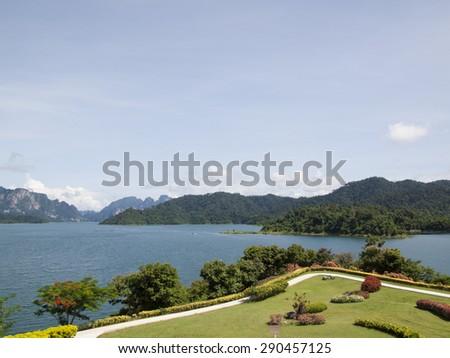 garden lake tropical - stock photo