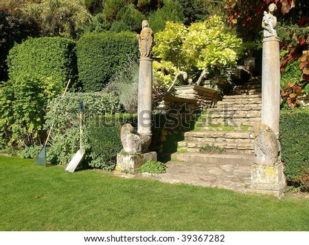 Garden Lawn, Landscaping and Steps to an Upper Level - stock photo
