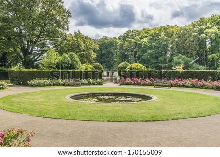 Garden near York House. York House - historic stately home in Twickenham, England in London Borough of Richmond upon Thames.York House dates to 1630. - stock photo