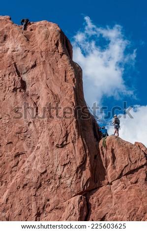 Garden of Gods in Colorado Springs, Colorado / Rock climbing at Garden of Gods - stock photo