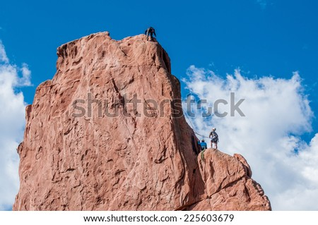 Garden of Gods in Colorado Springs, Colorado / Rock climbing in Colorado  - stock photo