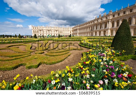 Garden of Palace of Versailles (Chateau de Versailles) in Paris, France - stock photo