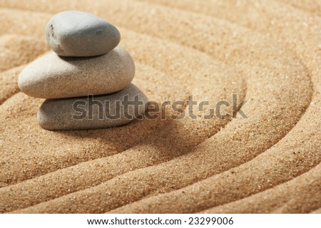 Garden of stones, zen-like, tranquil, spa images - stock photo