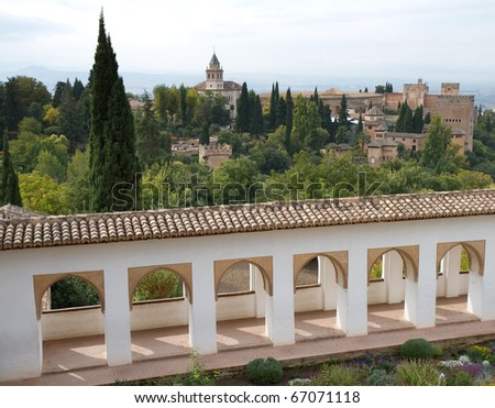 Garden of the Alhambra, Andalusia, Spain - stock photo