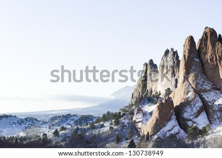 Garden of the gods after fresh snow. - stock photo
