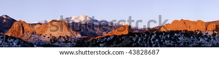 Garden of the Gods and Pikes Peak on a cold winter morning - stock photo