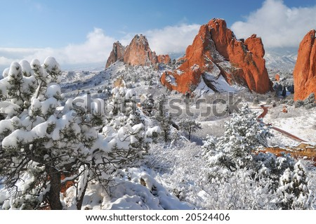 Garden of the Gods Park near Colorado Springs, Colorado taken from the top of white rock ridge after a snow - stock photo