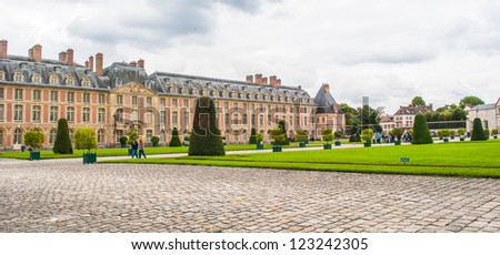 Garden of the Palace of Fontainebleau, one of the largest French royal chaÃ?Â??teaux - stock photo