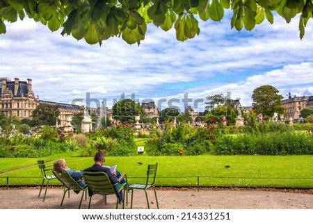 Garden of Tuileries (Jardin des Tuileries) outside the Louvre in Paris, France - stock photo