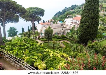 Garden of Villa Rufolo in Ravello village, Amalfi coast, Italy - stock photo
