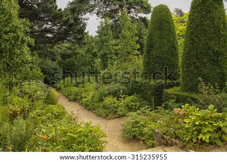 Garden on the grounds of Sudeley castle in England - stock photo