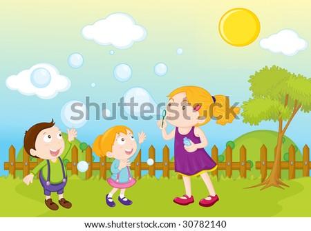 garden park illustration scene blowing bubbles - stock photo