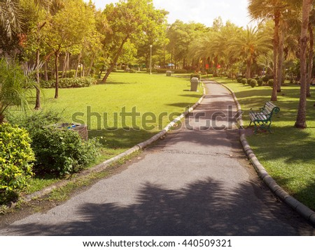 garden park road benches landscape - stock photo