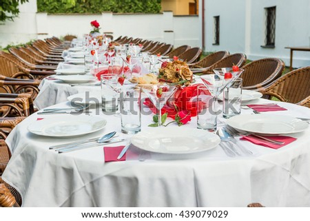 garden party set up for lunch dinner with long table , Decorated table in the garden