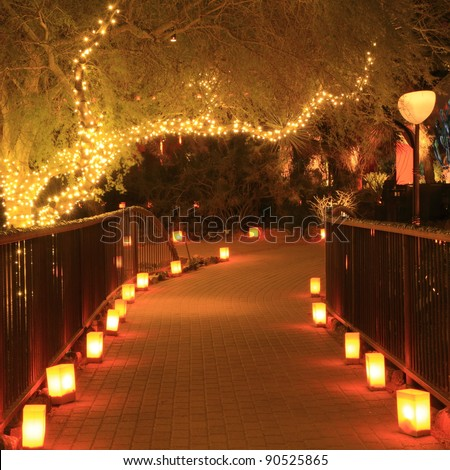 Garden path night lit luminarias christmas stock photo for Sidewalk christmas lights
