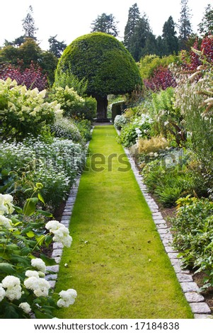 Garden path surrounded by flower borders