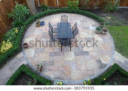 Garden patio from above - stock photo