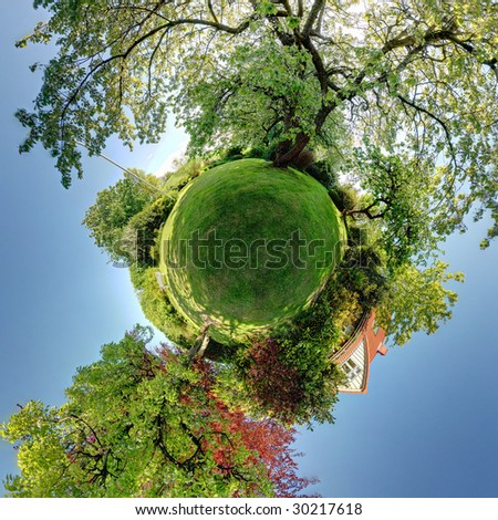 garden planet, 360 panoramic of trees shrubs, lawn and house. - stock photo
