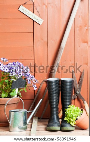 Garden potting shed with Senetti flowers in terracotta pot with watering can and tools - stock photo
