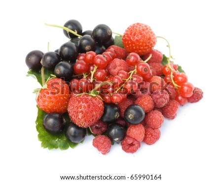 Garden ripe berries isolated on white background