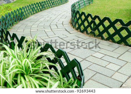 Garden road - stock photo