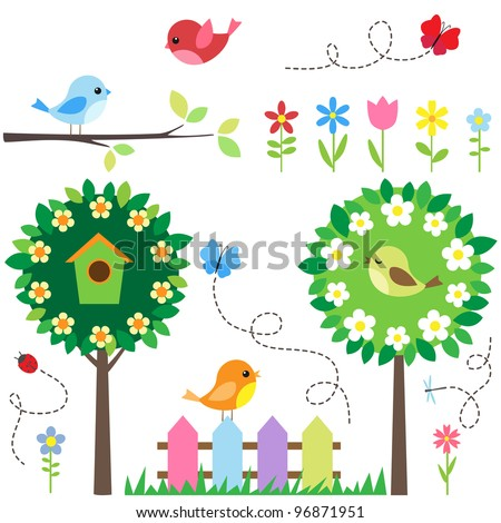 Garden set with birds, blooming trees, flowers and insects. - stock photo