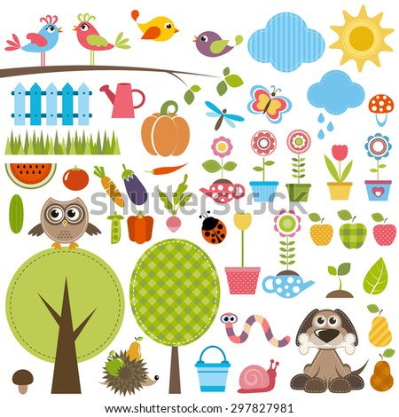 Garden set with birds, trees, flowers, vegetables and insects. Raster version - stock photo