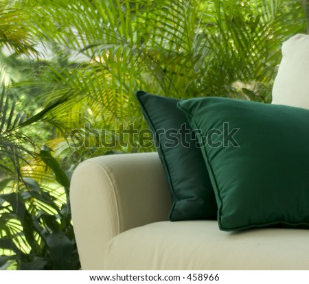 Garden Settee. Shot in soft focus for dreamy effect. - stock photo