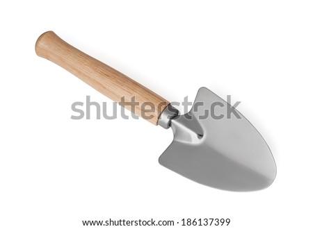 Garden shovel on a white background - stock photo