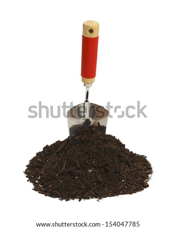 Garden Shovel with Soil Isolated on White Background. - stock photo