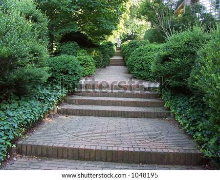 Garden Steps - stock photo