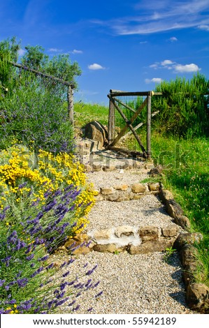 Garden steps with flowers leading to gate - stock photo