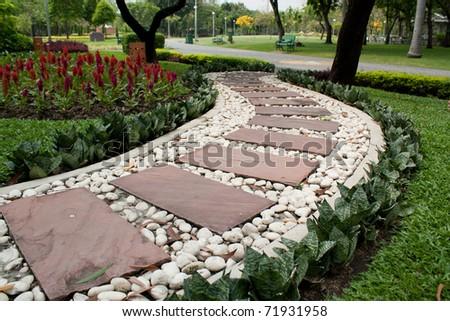 Garden Stone Path - stock photo