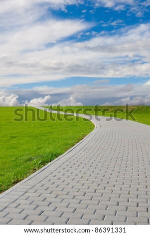 Garden stone path with grass growing around stones - stock photo