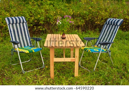 Garden Table for Two - stock photo