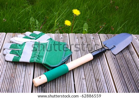 Garden tool and gloves - stock photo