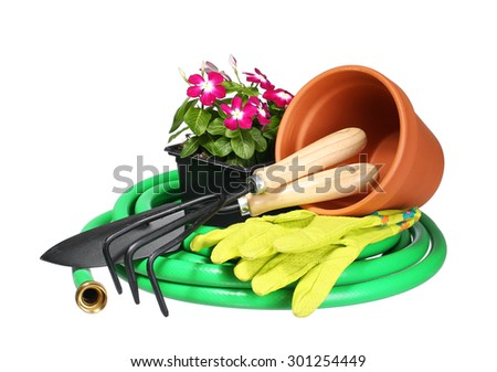 Garden tools and flowers with fork and gloves isolated on white background - stock photo